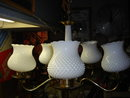 Collectible RETRO NOBNAIL Milk Glass Electric 5 Globe CEILING  LIGHT FIXTURE