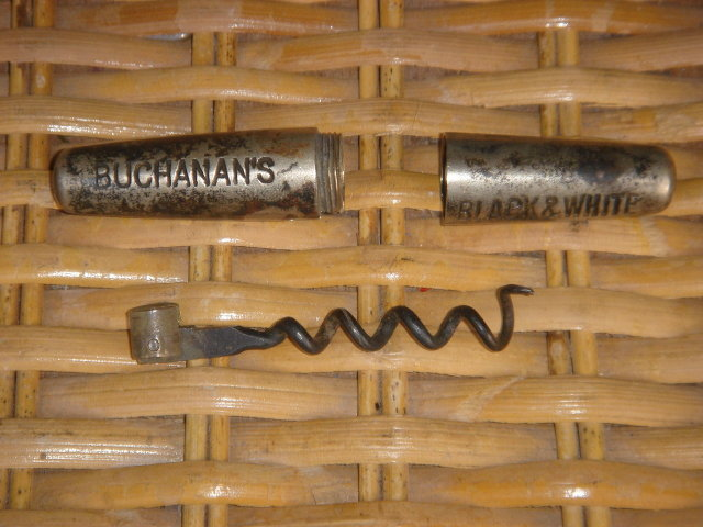 Antique Circa 1880's BUCHANAN'S BLACK & WHITE TRAVELLING CORKSCREW WITH ADVERTISING NAMES ~ BUCHANAN'S / BLACK & WHITE ___ROUNDLET_ Cork screw Cylinder unscrews + Iron Cork Screw FOLDS in slot