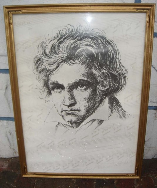 ART Music BEETHOVEN Large Old Print  Solid Wood Gilt Frame and Glass Large size