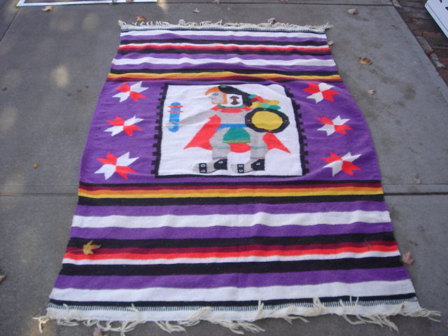 Carpets/Rugs AZTEC  Rug / Blanket 80 Inches X 54 Inches ---- Enjoy the Decorative Beauty of This Native Design. Bright and Cheery Colors. Clean and Tidy. Collectible.