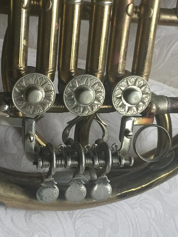Circa 1890 _RARE FIND_ Ed. Kruspe FRENCH HORN_*** Stamped Kruspe , Erfurt *** _ Solid Brass_ RARE MODEL_made in Germany__ with Wood construction Locking Case