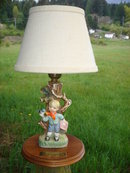 Estate the Beauty of this HUMMEL style CHILD'S BEDROOM LAMP Base With Solid BRASS Plaque Inscription READS : HOW SWEET IT IS  etc___ Vintage Electric Lamp. Enjoy Decorating Home or Office.
