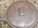 Metalware ~ Estate ~ ANTIQUE ~ BROOKFIELD Heavy CAST IRON POT with Original Lid ~  Fantastic Find for this Age. HANDLE DETACHES  if you require for moving or storing away. ~ Large 3.5 Quart Size