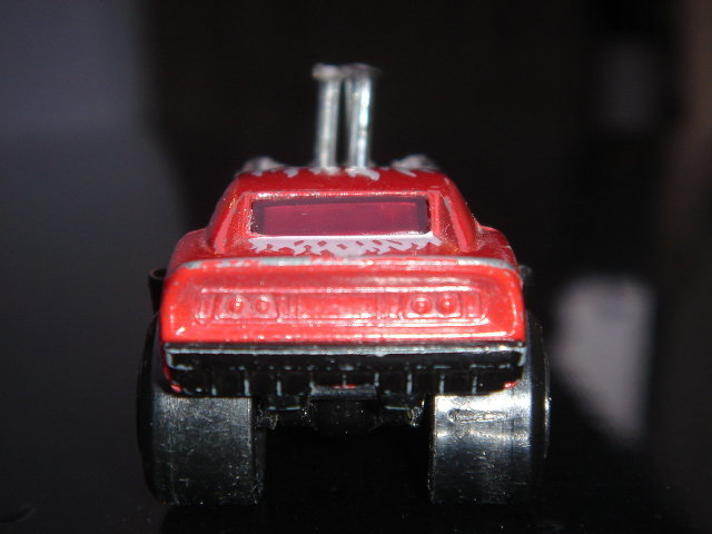 Collectible MATCHBOX Toy MUSCLE CAR Red Rider HUGE PIPES Big Black Fat Rear Tires ~ Makes a great Gift or add to your collection