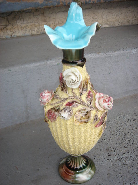 Antique MAJOLICA POTTERY  Ewer / JUG on Pedestal Base. The Skill of Craftsman Just Beautiful  ~ Circa 1890's