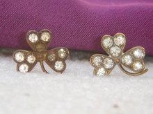 Antique~ TWO~SHAMROCK Rhinestone HAT PINS ~ Circa 1880's~ From Estate