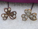 Antique~ TWO~SHAMROCK Rhinestone HAT PINS ~ Circa 1880's~ From Estate