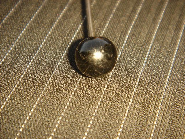 Antique Black Glass HAT PIN ~ Circa 1890's~