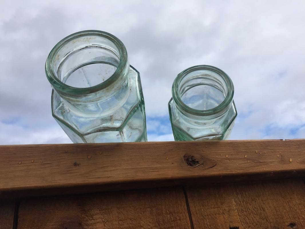 c1870s - 1922 _KILNER BROS Limited Aqua color Glass Jars _ 8 SIDED_ 2 Sizes_