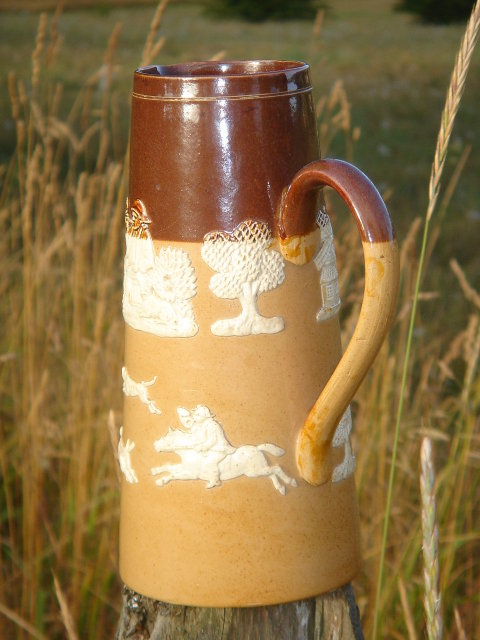 Antique DOULTON LAMBETH Pottery ~ FOX HUNTING WARE ~ 7.75 Inch JUG with Tree, Gent Smoking Pipe, Ale in Hand,Sitting Thinking, Windmill + STAG Hunt Scene. Give as Gift or Add to Collection  Circa 1800's