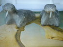 Eskimo ART ~ INUIT SCULPTURE in Stone. TWO WALRUS. Signed DIMU