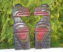 ORIGINAL Northwest Coast  Native ART. Pair of RAVEN CARVINGS in Cedarwood. Hand-Carved by Skilled Genuine 1st Nations Carver Chris Cari Joseph