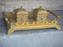 Beautiful ANTIQUE Solid Brass DOUBLE INKWELL on Ornate Handled Tray. ~ Circa 1880 ~ Germany  in EXCELLENT Condition
