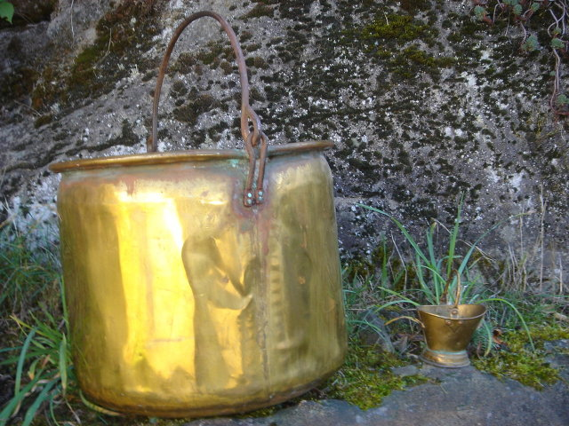 Large ANTIQUE  Solid Brass CAULDRON  16 Inches High From bottom to Tip of Iron Bale Handle