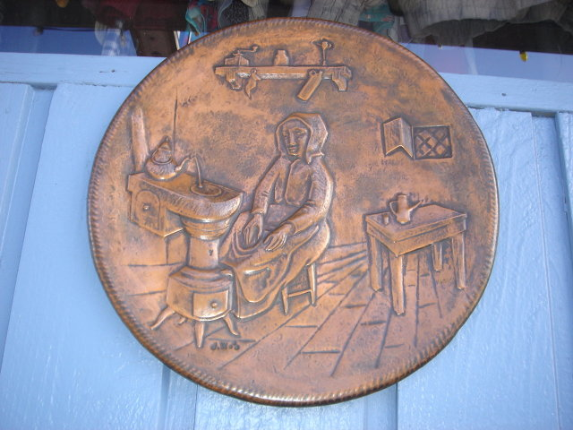 Estate SOLID COPPER PLAQUE ~ Canadiana ~ Quebec Lower Canada .  LARGE 15 Inch Size   Handcrafted Copper Plaque. Early Settlers Scene. Nice Condition.