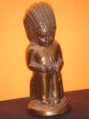 Collectible Bronzed Little Indian Boy Chief  ~ METAL COIN BANK~ CIRCA 1950'S  IN Excellent  Condition ~ PROVENANCE _R.C.A.F. persons name + Quebec, Canada 1958
