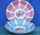Collectible Beautiful PARAGON Saucers. ONE IN PINK and ONE in BLUE with Fruit in Center.