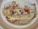 Collectible SIDE PLATES (2) Made by Newhall England ~ Old English Country Scene with Horses Pulling Stage Coach , Driver + Passengers with