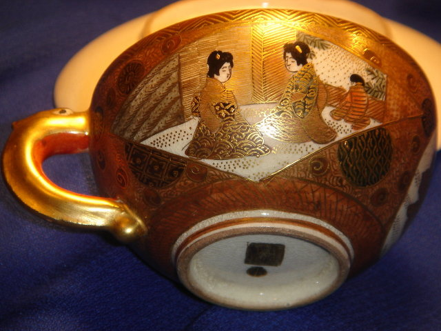 Early Meiji Period ~ Spectacular  Satsuma GOLD Cup + Saucer ~ In Excellent Condition  19th Century Satsuma Authentic Mark, GOLD Cross in the Circle ~ Please CLICK on Pic 2X TO VIEW in LARGE SIZE _Good Value Gold $550.