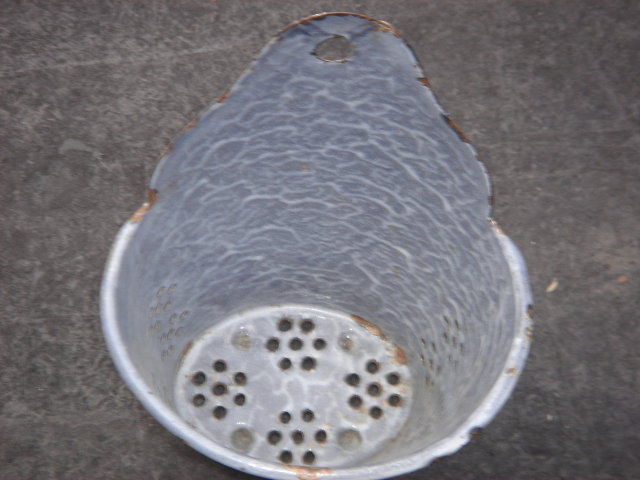 RARE FIND !!! Antique Circa 1880  BRUSH HOLDER sits on Kitchen Sink Counter or Hang on the Wall. ~ For The Hard Core Graniteware Collector ~ The Round / Oval / Tapered Shape
