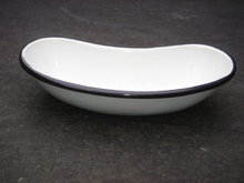 Collectible Small BLACK + WHITE KIDNEY Shape BOWL ~
