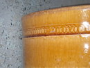 Antique CROCK  SIZE 12 Inch  HIGH x 10 Inch Wide x 10 Inches Deep ~ CROCK   ~ with  UNUSUAL GOLDEN BROWN RIBBED Marking  Around Top Outer Edge  __Due to Being Antique  __as found __ Thought to be Early Canadian Crock