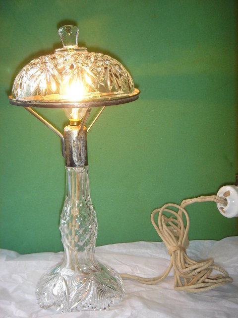 Crystal Lamp American Brilliant  CIRCA 1900 The Hand Cut Crystal Base in EXCELLENT Condition RARE FIND!!!