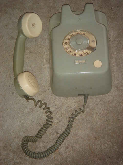 MID- CENTURY _Kitchen Telephone Vintage ~ Green and White TELEPHONE Wall Mounting Style ~ made in Germany