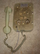 Kitchen Telephone Vintage ~ Green and White TELEPHONE Wall Mounting Style ~ made in Germany