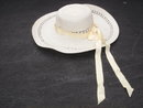White BONNET with Cream Color Ribbon ~ 16 Inch Diameter ~ Woven Material