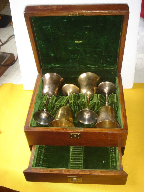 Antique ~ Circa 1910 ~  ARTS-N-CRAFTS era ~  BIRKS Canteen...WITH  KEY +  Made of Solid Oak.~  Store Wine Goblets~ with Drawer Below ~ Please  Goblets in Pic for Display Only