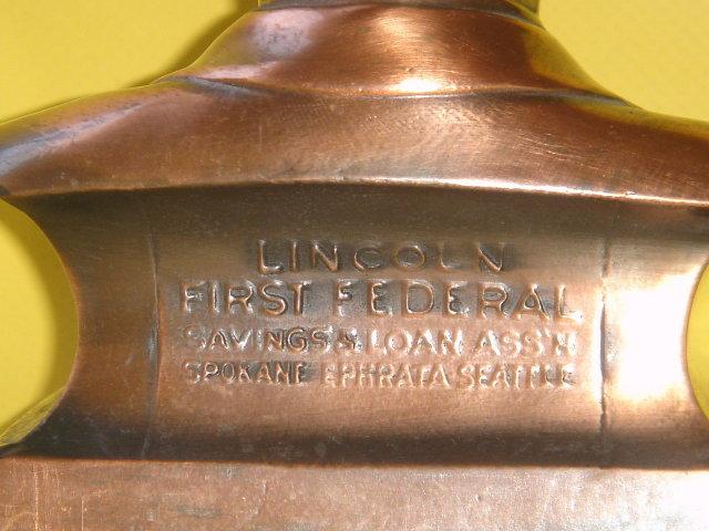 Collectible COIN BANK ~ Abraham Lincoln Coin Bank ~ Metal ~ Copper / Bronzed Finish~ Lincoln First Federal Savings & Loan Assn  Spokane -Ephrata- Seattle