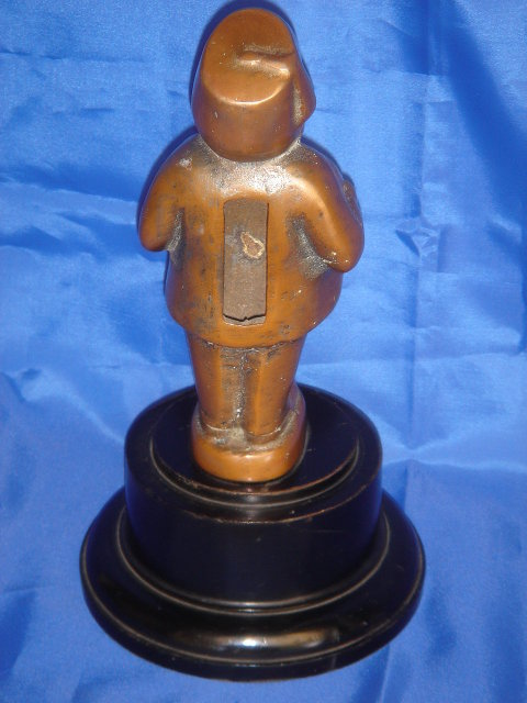 Collectible BRONZE DRAFT BEER TAP Head ~ In Design of Morrocan Gentleman ~ Phosperous BRONZE mounted on Ebony Base. Decorate the Home or Office