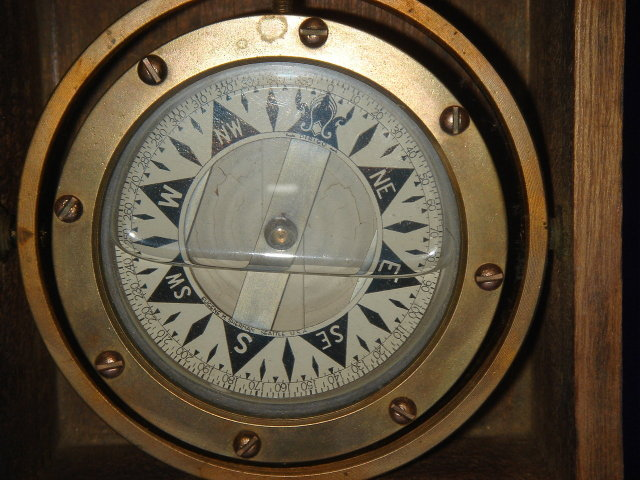 Nautical __Circa 1910-1944 ~ Solid BRONZE Gimbal Ships Compass ~ Eugene M. Sherman  Seattle, U.S.A. in Mahogany Box with Lid