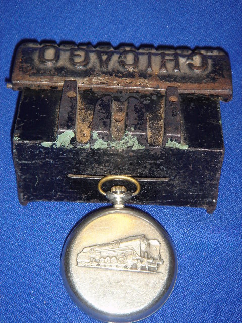 Collectible RR ~ Railroad LOT ~ Beautiful RAILROAD POCKET WATCH ~ 18 Jewels TESTED + Running ~ PLUS Cast Iron Watch Clock KEY BOX ~ MAKES Good Birthday / Retirement GIFT