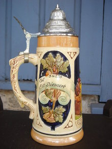 Collectible Military Beer Stein ~ With Officers Name~ PEWTER Lid ~ In Nice Condition~ Western Germany