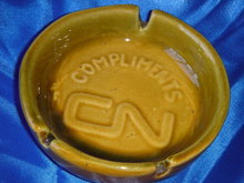 Canada ART Pottery ~ CN ~ Canadian National Railroad ASHTRAY ~ Stamped with Number + Canada ~ Limited numbers made