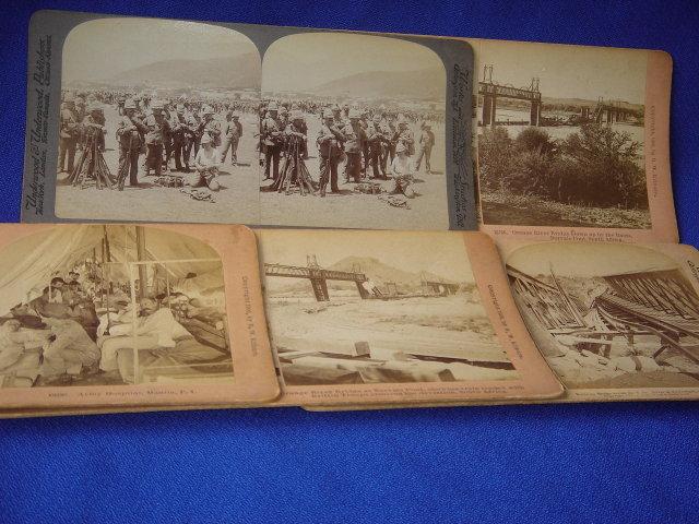 Circa 1900  ~ B.W. Kilburn Littleton, NH JAMES M. DAVIS + Underwood & Underwood STEREOVIEW CARDS   ~  FIVE CARDS Boer War  / Canadian Fighters