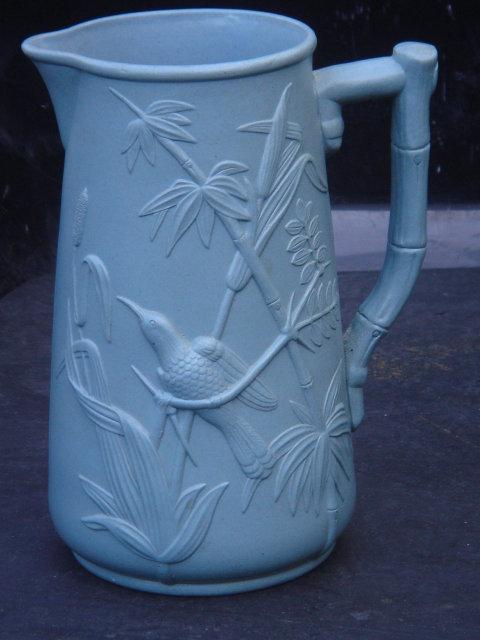 Orientalia _POTTERY __ Circa 1860 - 1880  Beautiful BLUE Water Pitcher / JUG