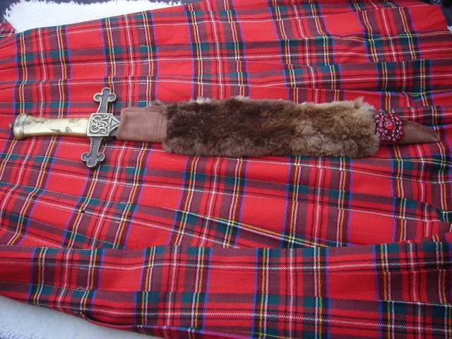 Antique Militaria _BANDSMAN'S  Short SWORD _Circa 1840-1890 Attributed to German Sword Maker MOLE_ GvR Stamped Hilt _ SOLID BRASS with Steel Blade & Custom-Made BEAVER Skin Sheath with RED Brooch + NO SALES TAXES to USA + NO SALES TAXES to CANADA