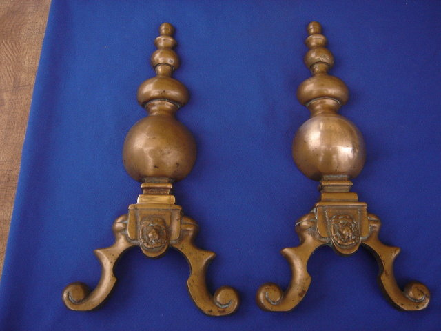 SOLID BRONZE ___Antique FIREPLACE ANDIRONS  With  LIONS HEAD Design _ SOLID BRONZE_ Beautiful