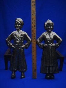Antique Solid BRASS+ HEAVY 27.75 LBS. QUALITY  DUTCH BOY + GIRL ANDIRONS
