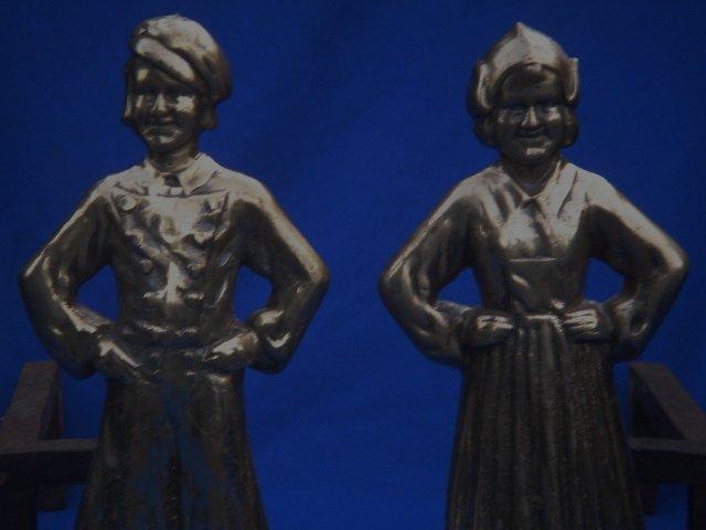 Antique Solid BRASS+ HEAVY 27.75 LBS. QUALITY  DUTCH BOY + GIRL ANDIRONS