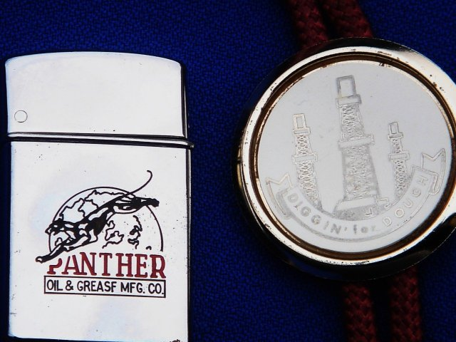 Collectible _PANTHER OIL & GREASE Mfg.  Co._ Cigarette  LIGHTER _SIGNED by C.E.O  _ A.B. CANNING__ Metro brand Japan _OIL WELL BOLLO TIE _ Gold style