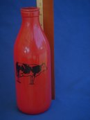 Vintage RED MILK BOTTLE _glass_ With Black Cow logo _ in Excellent Clean Condition_ 50's Era