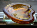 Blenko Blown Glass ASHTRAY _Art Glass_ Amber Glass Clamshell Freeform Design by Winslow Anderson 1950's