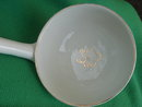 LARGE White & GOLD Porcelain Ladle features Gold Gild  Trim with Shamrock in Centre of 4.25