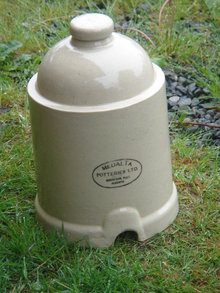 COMPARE at $220.00 US funds...old POTTERY _ Medalta Chicken WATERER Feeder _