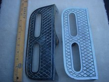 Beautiful QUALITY Nautical SHIP or Boat BOARDING STEPS -Fixed-The Pair_ Chrome over Solid CAST BRONZE  Dipped with Heavy Chrome  Plate. Strong Design  -TWO HAND LOOP - Diamond Pattern Step