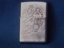Collectible LIGHTERS / Smoking Items _Beautiful ZIPPO Cigarette Lighter with Killer Whale Design. with Working Flint.